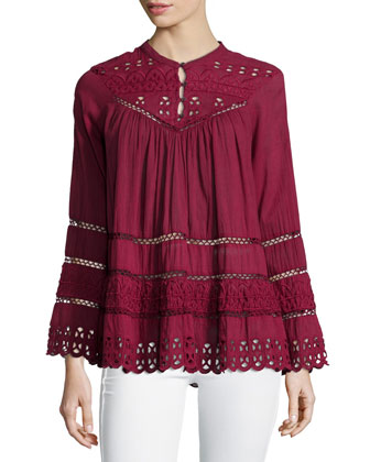 Long-Sleeve Eyelet-Embroidered Top, Sangria