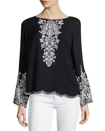 Long-Sleeve Embroidered Top, Black/Ivory
