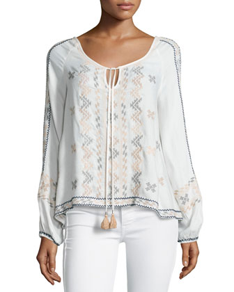 Long-Sleeve Tribal-Print Top, Ecru