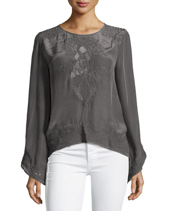 Long-Sleeve Jewel-Neck Top W/Lace Insets, Raisin
