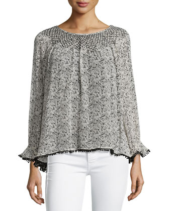 Long-Sleeve Floral-Print Blouse, Black/Cream