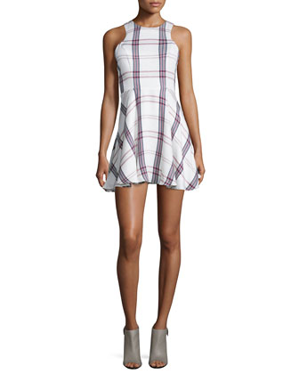 Sadie Fit-&-Flare Plaid Dress, Wine