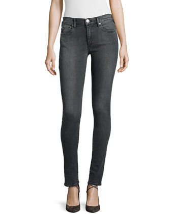 Halle Mid-Rise Super Skinny Jeans, Charcoal
