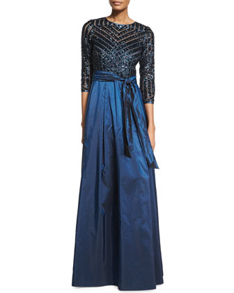 3/4-Sleeve Sequined & Taffeta Gown