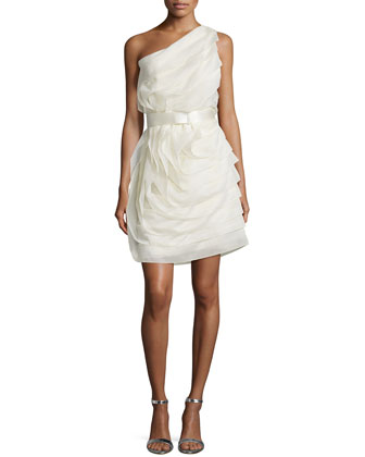 One-Shoulder Ruffled Cocktail Dress, Cream