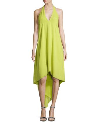 Halter-Neck Asymmetric Cocktail Dress, Citrus