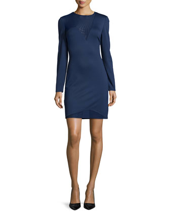Long-Sleeve Sheer-Inset Cocktail Dress, Night Sky
