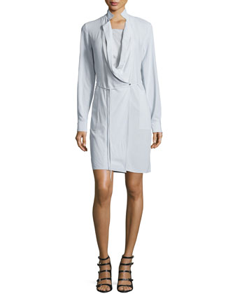 Long-Sleeve Wrap Dress, Vapor