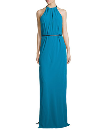 Halter-Neck Belted Evening Gown, Turquoise