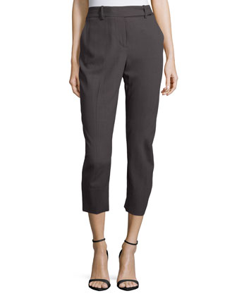 Slim-Leg Cropped Pants, Lead