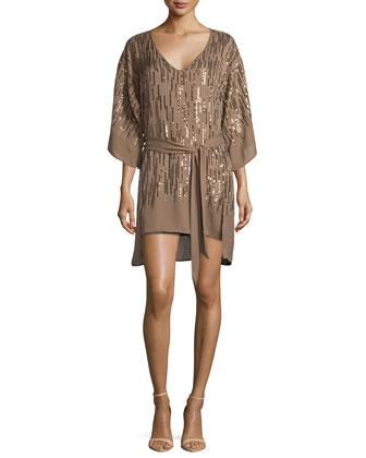 Embellished Cocktail Dress W/Belt, Bronze