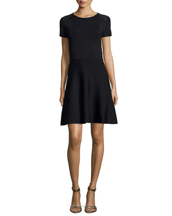 Short-Sleeve Fit-&-Flare Dress, Black