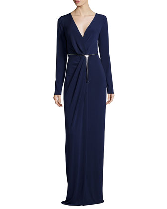 Long-Sleeve Pleated-Front Evening Gown, Midnight