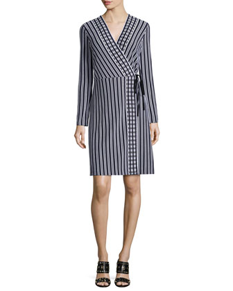 Long-Sleeve Stripe Wrap Dress, Navy