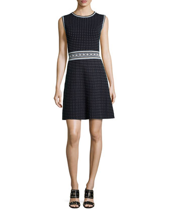Sleeveless Geometric Fit & Flare Dress