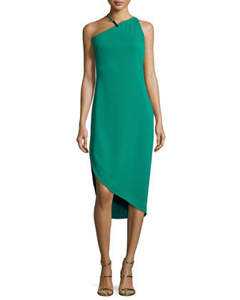 Sleeveless Asymmetric Cocktail Dress, Emerald