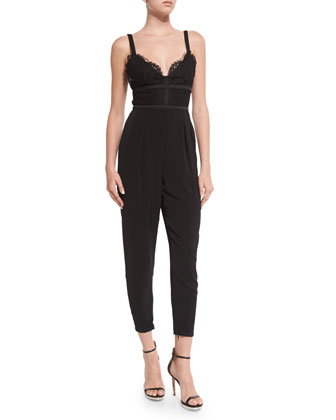 Interlude Lace-Bodice Jumpsuit, Black