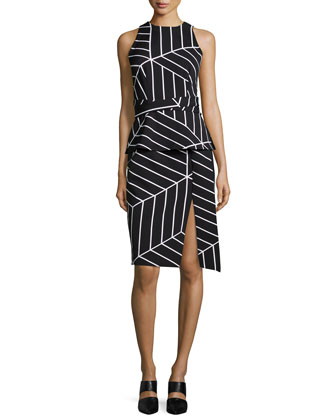 Distance Sleeveless Geometric-Print Dress, Cube Geo-Print
