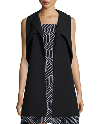 In Orbit Long Vest, Black