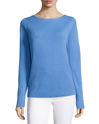 Long-Sleeve Draped-Back Cashmere Top, Sky Blue