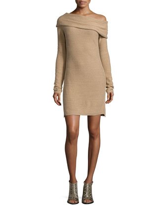 Long-Sleeve Off-The-Shoulder Sweaterdress, Camel/Gold