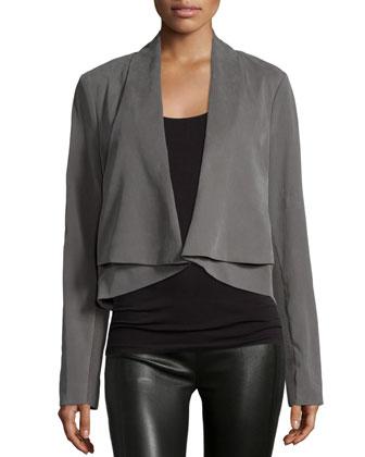Long-Sleeve Open-Front Jacket, Dark Gravel