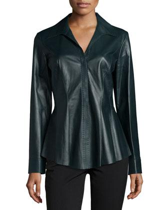 Luciana Leather Blouse, Spruce Sprayback