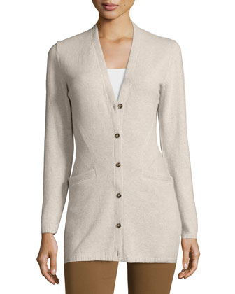 Long-Sleeve V-Neck Cashmere Cardigan, Khaki Melange