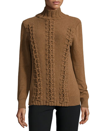 Long-Sleeve Cable-Knit Cashmere Sweater, Coconut Melange