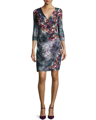 3/4-Sleeve Floral Jersey Wrap Dress