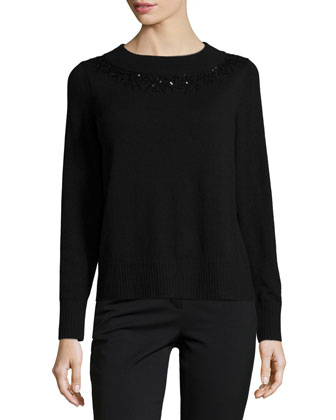 Embellished-Neck Long-Sleeve Cashmere Sweater, Black