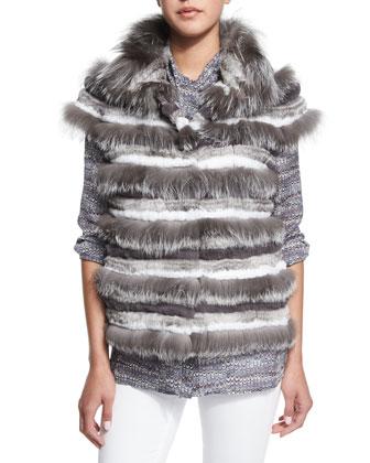 Fox Fur Striped Vest & Tie-Neck Marble-Print Blouse