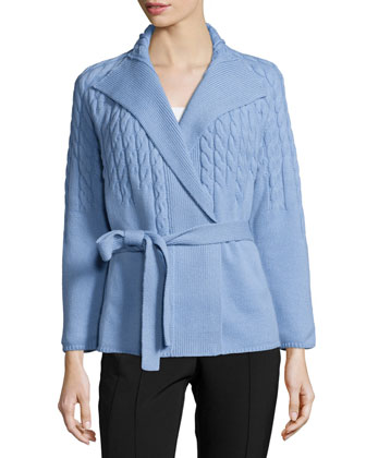 Long-Sleeve Cable-Knit Belted Cardigan, Twilight