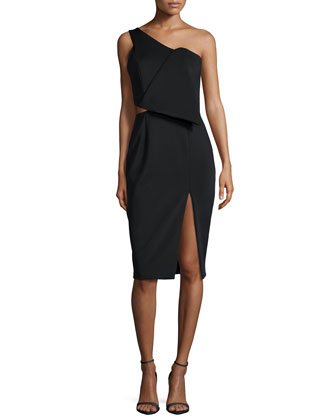 The Night One-Shoulder Sheath Dress, Black