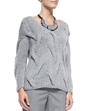 V-Neck Cashmere-Blend Cable Sweater, Nickel Melange