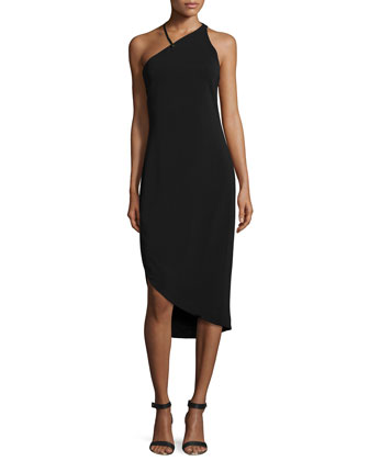 Sleeveless Asymmetric Cocktail Dress, Black