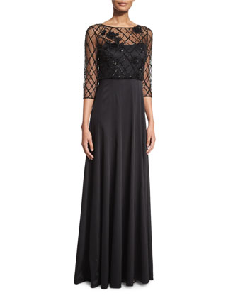 3/4-Sleeve Popover Gown