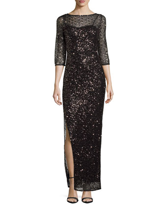 Sequined Lace Column Gown, Black/Gold