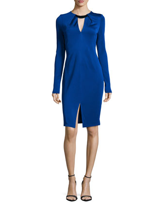 Long-Sleeve Pleated Jewel-Neck Dress, Bright Indigo