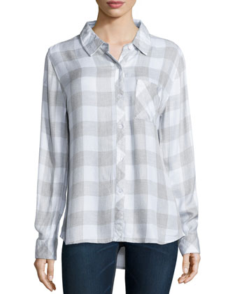 Hunter Check Poplin Shirt, White/Gray