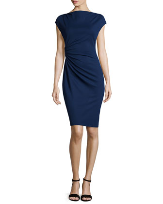 Cap-Sleeve Ruched Dress