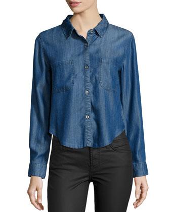 Carter Cutoff Chambray Shirt, Dark Vintage Wash