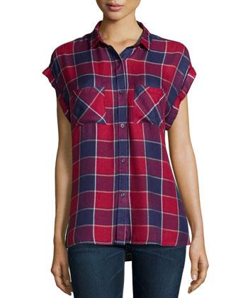 Britt Cap-Sleeve Woven Plaid Shirt, Crimson/Dusk
