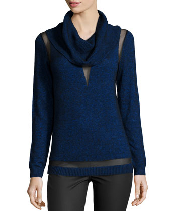 Cowl-Neck Sheer-Inset Sweater, Imperial Multi