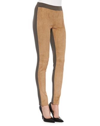 Skinny Combo Moto Pants, Camel/Lead