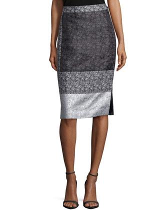 Nataya Multi-Print Pencil Skirt, Black Multi