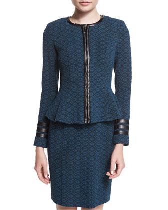 Zip-Front Textured Collarless Jacket