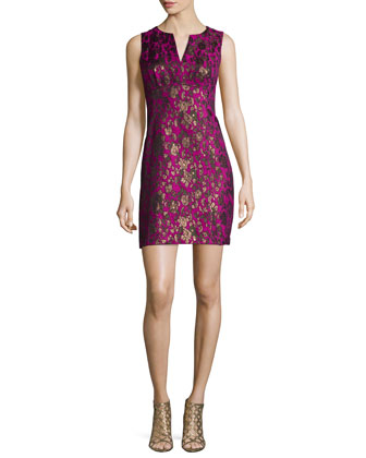 Button-Front Floral Jacquard Coat & Sleeveless Floral Jacquard Sheath Dress