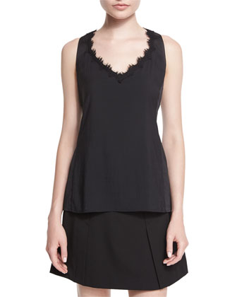 Sleeveless V-Neck Tank W/ Lace Detail, Black