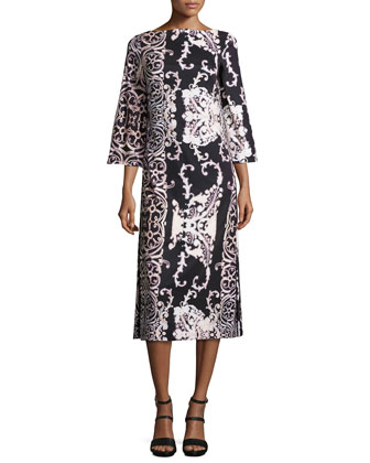 3/4-Sleeve Open-Back Paisley-Print Dress